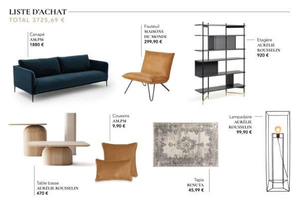 liste achat mobilier decoration interieur projet